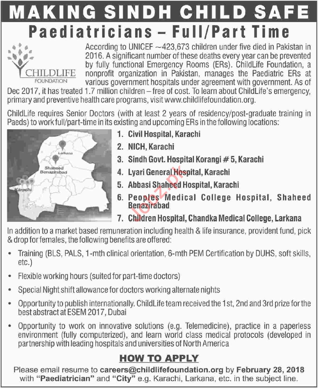 Childlife Foundation Karachi Jobs 2018 for Paediatrician