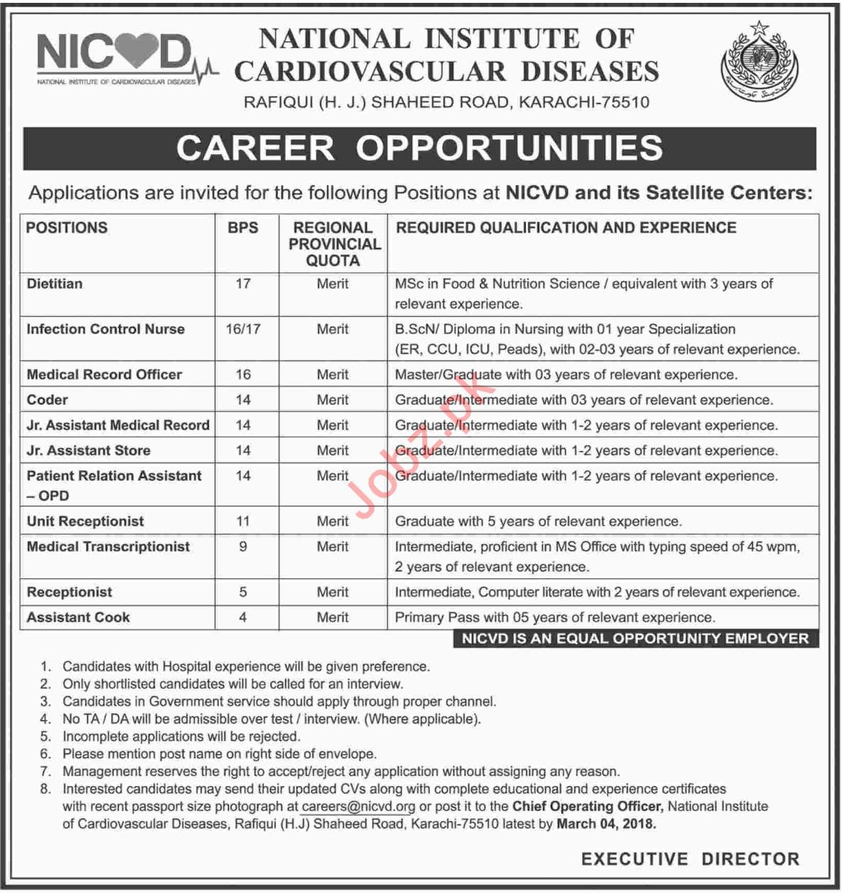 NICVD National Institute of Cardiovascular Diseases Jobs
