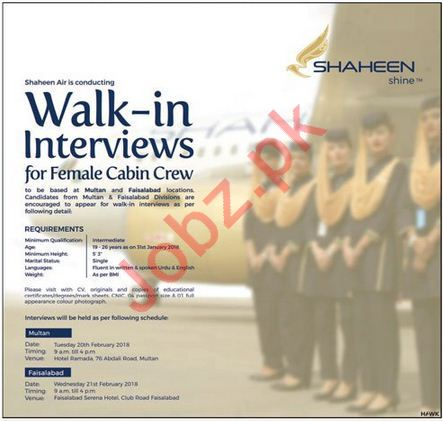 Shaheen Air International Jobs Interview