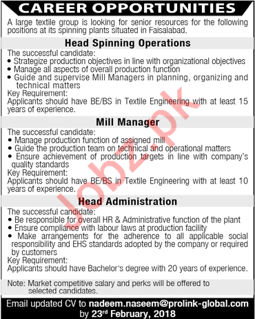 Head Spinning Operations, Mill Manager & Head Amin Jobs