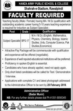 Hamza Army Public School and College APS Jobs