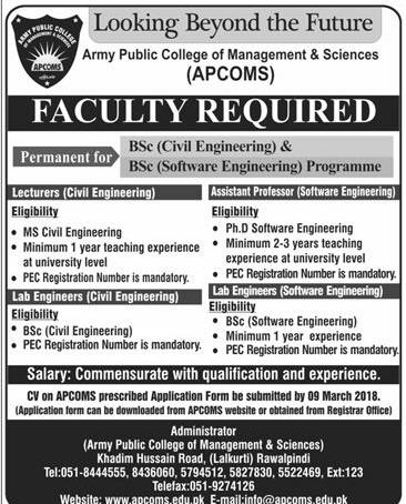Army Public College of Management & Sciences APCOMS Jobs