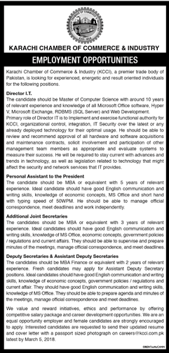 Karachi Chamber of Commerce & Industry Jobs