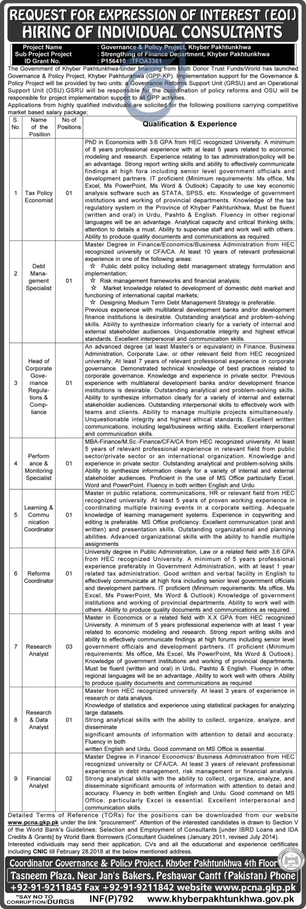 Governance and Policy Project GPP-KP KPK  Jobs