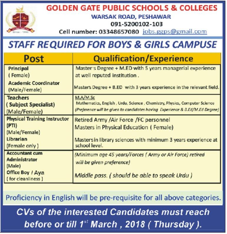 Golden Gate Public School & College  Teachers Job