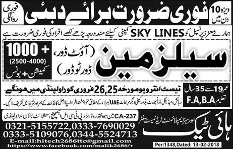 Salesmen OUt Door / Door to Door job in Sky Lines Company