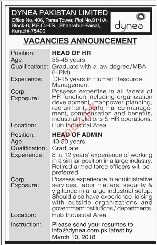 Dynea Pakistan Limited Karachi Jobs 2018