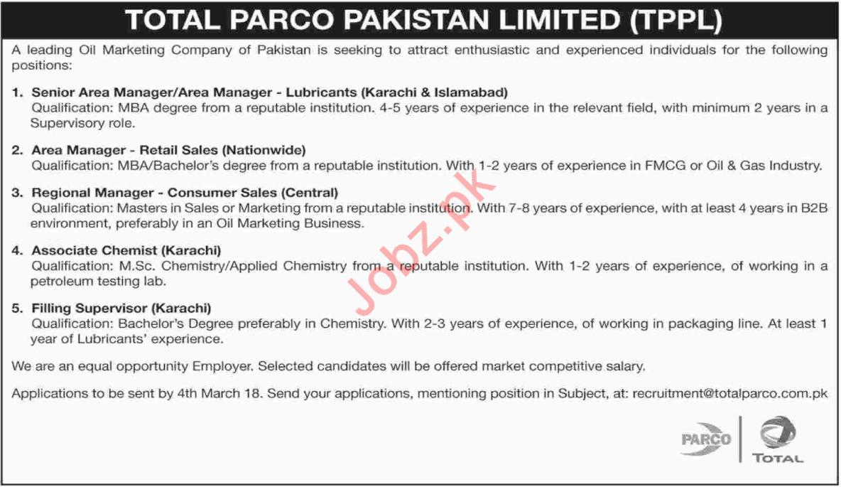 Total PARCO Pakistan Limited TPPL Karachi Jobs 2018