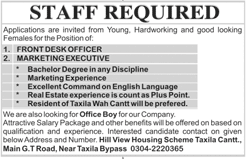 Front Desk Officers, Marketing Executives Job Opportunity
