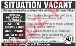 Executives, Accountant & Student Counselors Jobs in Lahore
