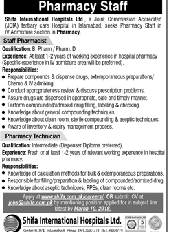 Shifa International Hospital Ltd  Jobs