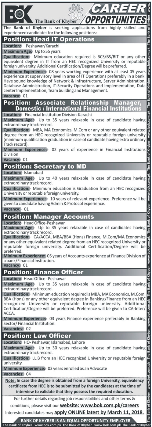 The Bank of Khyber BOK Head of IT Operations Jobs