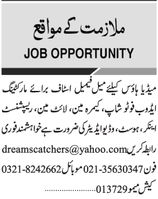 Marketing Staff, Lightmen, Receptionists Job Opportunity