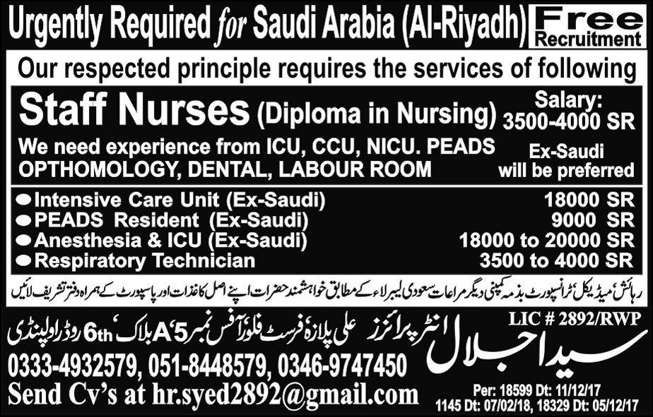 Staff Nurses Job in Saudi Arabia