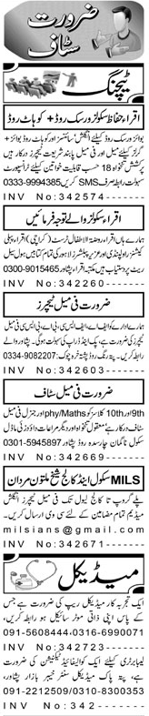 Male / Female Teachers, Medical Representatives Wanted