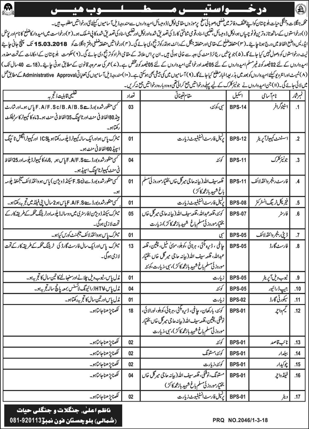 Forest & Wildlife Department Quetta Jobs