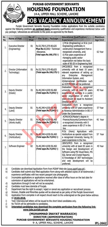 PGSHF Lahore Jobs 2018 for Deputy Directors