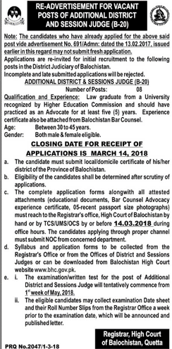High Court of Balochistan Quetta Jobs
