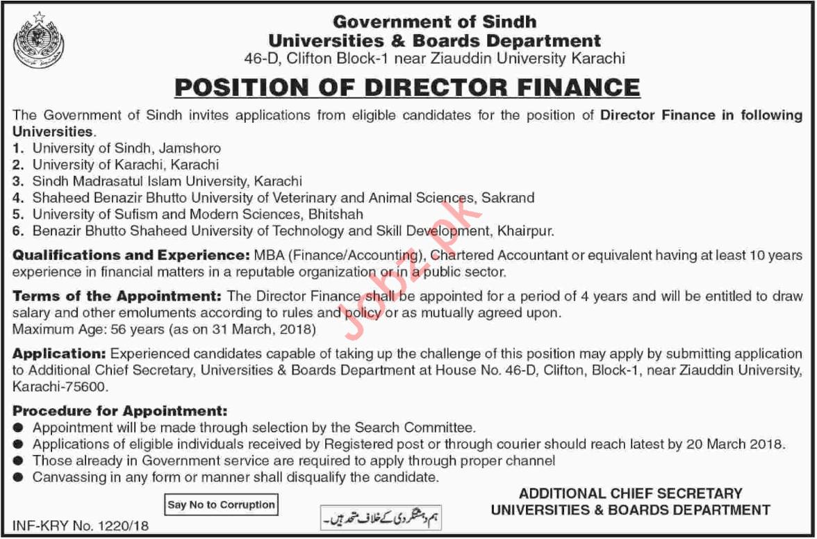 Director Finance Jobs 2018 in Sindh Universities