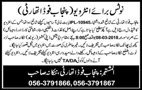 Punjab Food Authority  Male / Female Staff  Jobs