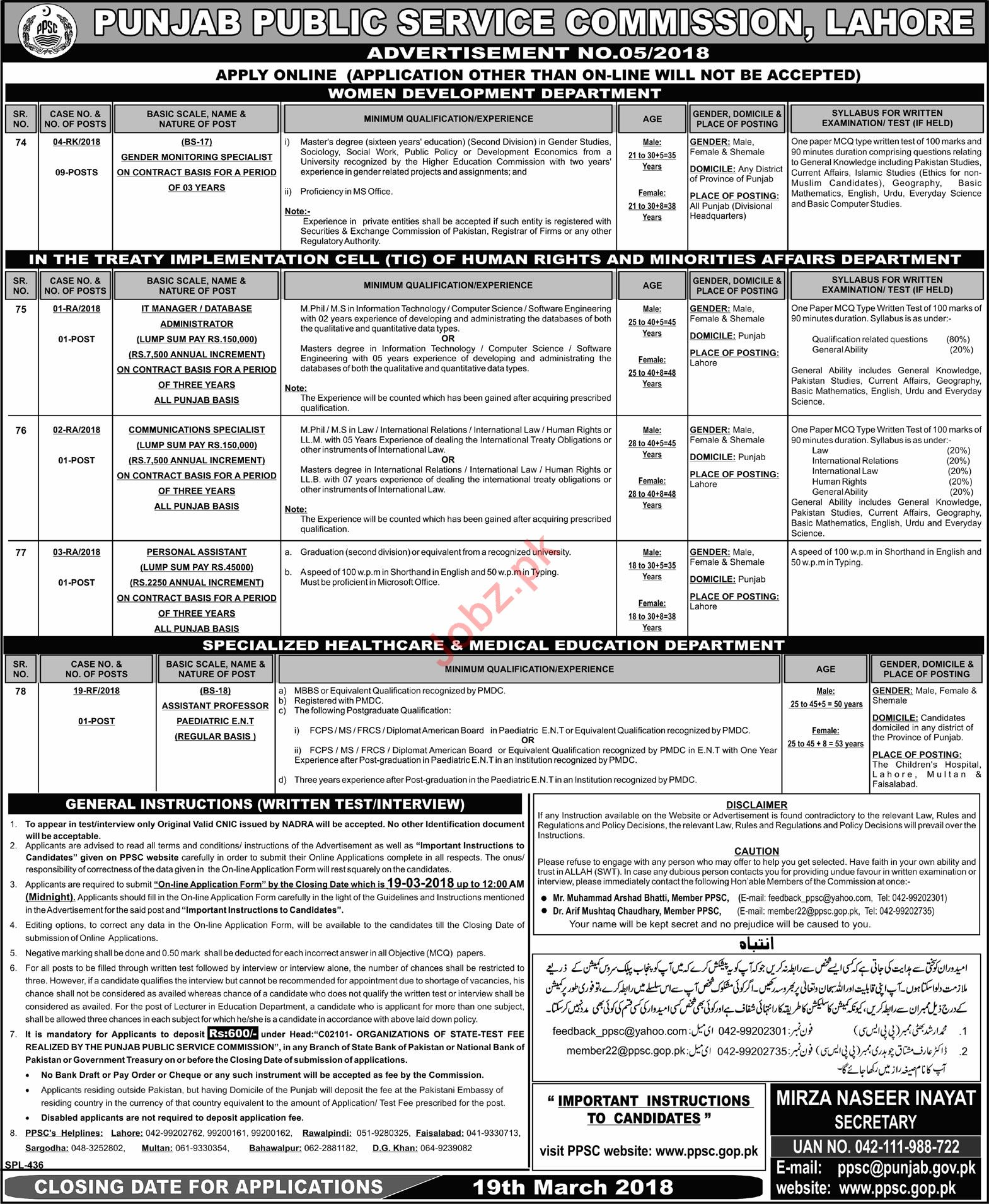 PPSC Jobs March 2018