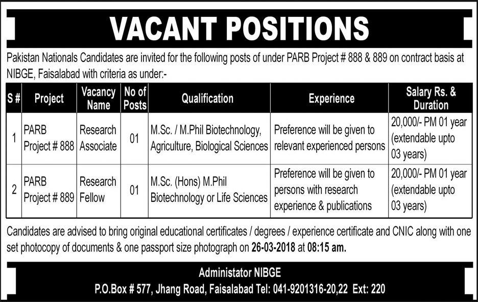 NIBGE Research Associates and Research Fellow Jobs