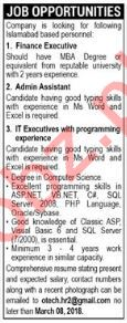 Finance Executive, Admin Assistant and IT Executives Wanted