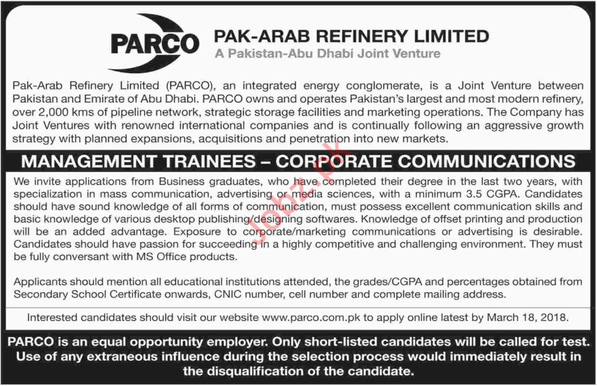 PARCO Karachi Jobs 2018 for Management Trainee