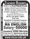 Male / Female English Teachers Job in NICON