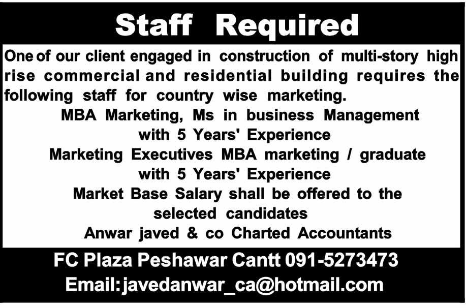 Marketing Executives Job in Anwar javed & Company