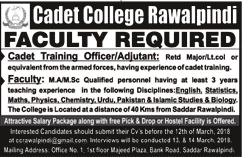 Cadet College Rawalpindi Teaching Jobs