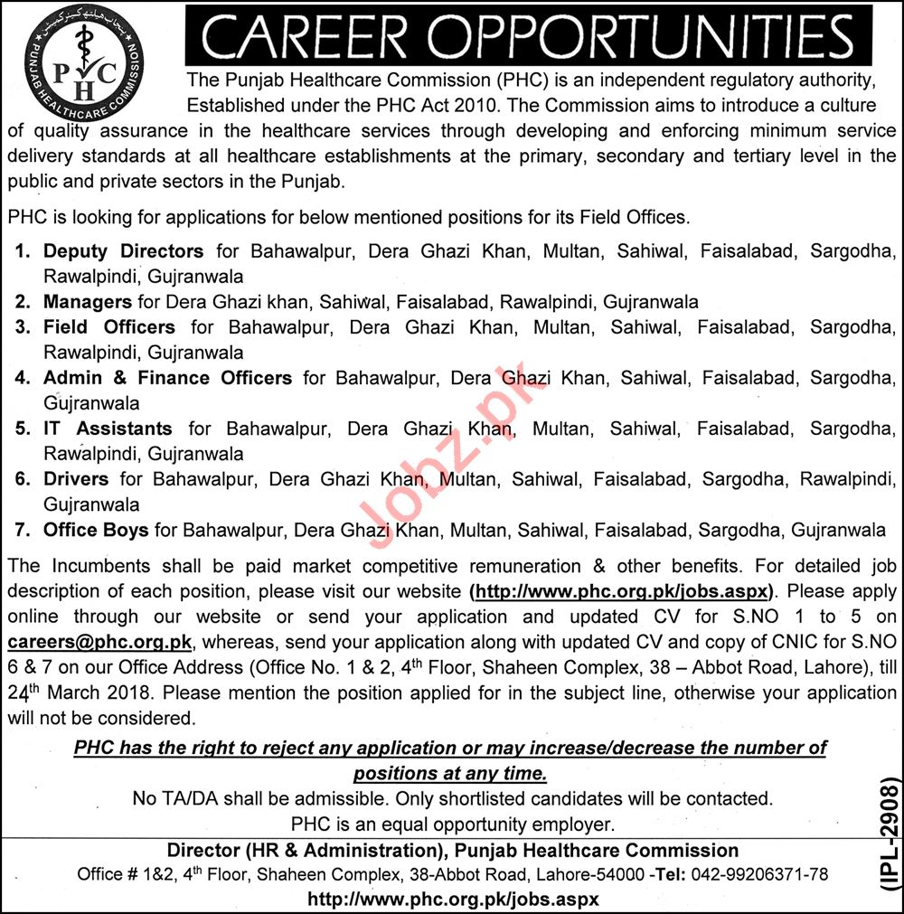 Punjab Healthcare Commission PHC Jobs 2018