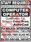 Computer Operator Jobs 2018 in Rawalpindi