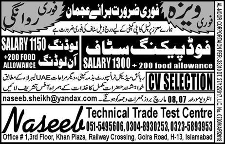 Food Packing Staff and Loading / Unloading Labors Wanted