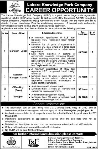Lahore Knowledge Park Company LKPC Management Jobs 2018