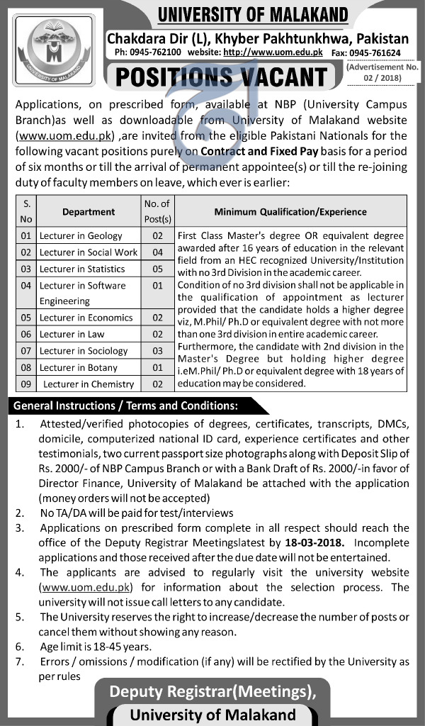University of Malakand UOM Teaching Jobs