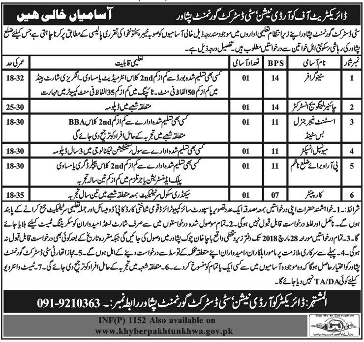City District Government Clerical Jobs