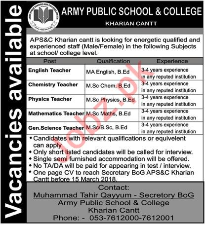 Army Public School & College APS Kharian Jobs 2018 Teachers