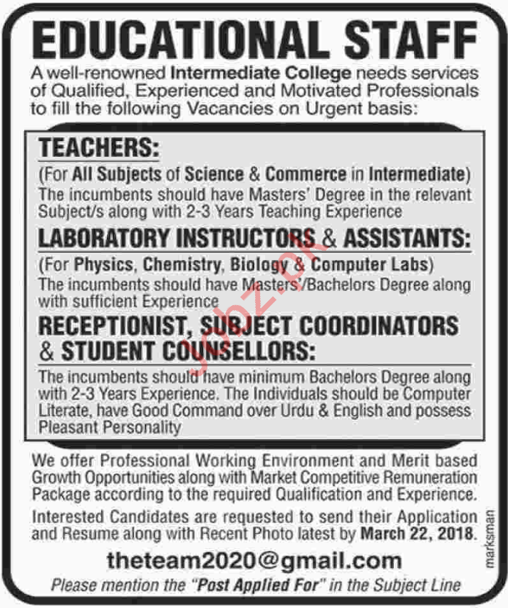 Educational Staff - Teachers, Laboratory Asst. Coordinators