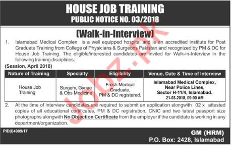 Islamabad Medical Complex House Jobs Interview 2018