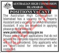 Australian High Commission Islamabad Jobs 2018