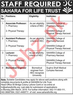 Sahara for Life Trust Narowal NGO Jobs 2018