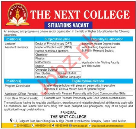 The Next College Multan Jobs Professors & Lecturers
