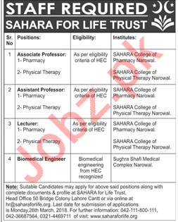 Sahara College of Pharmacy Narowal Jobs 2018 Professors