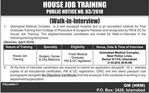 Islamabad Medical Complex House Job Doctors Jobs