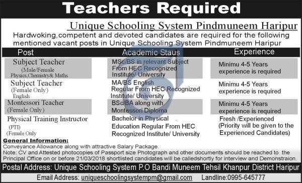 Unique Schooling System Pindmuneem Haripur Jobs