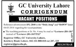 Government College University GC  University Teaching Jobs