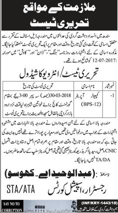 Anti Terrorism Court Sindh Computer Operators Jobs