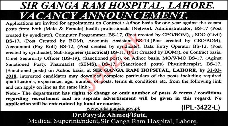 Sir Ganga Ram Hospital Lahore Jobs 2018