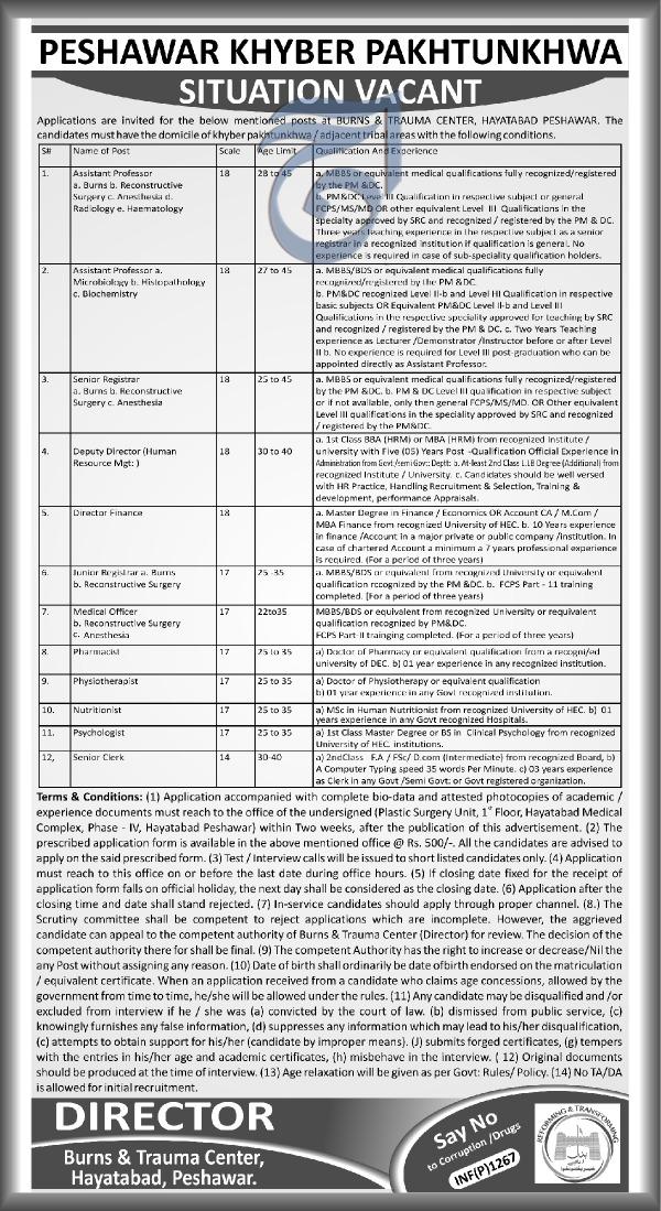 Burns & Trauma Center  Hyatabad Medical Jobs
